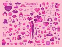 Valentine`s day icon set. Romantic design elements  on w Stock Photos