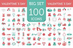 Valentine`s day icon set. Romantic design elements  on w Stock Photography