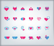 Valentine's day icon set. Valentine's day vector icon set with hearts Stock Photos