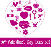 Valentine's Day Icon Set. Vector Illustration Stock Photography