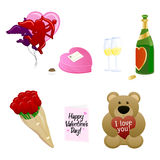 Valentine's Day Icons. A set of icons representing Valentine's Day Stock Photo