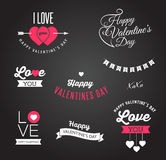 Valentine's day icons, lettering and elements Stock Images