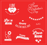 Valentine's day icons, lettering and elements Royalty Free Stock Photos