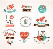 Valentine's day icons, lettering and elements Stock Photo