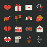 Valentine's day icons, love symbols  , flat design Stock Photo