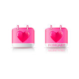 Valentine's Day Icons with Pink Background Royalty Free Stock Photo