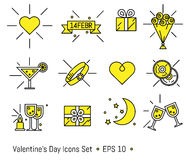 Valentine s day icons set in line art style Stock Images
