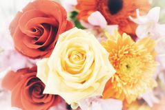 A bouquet of sweet yellow red roses flower blossom royalty free stock photo