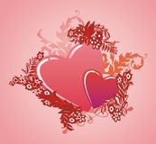 Valentine's day - illustration. Two romantic hearts Stock Images