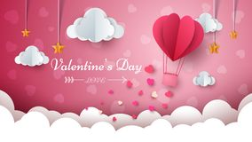 Valentine s Day illustration. Air balloon, cloud, star.