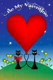 Valentine's Day illustration with cats Stock Image