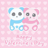 Valentine`s day illustration with cute baby boy and girl panda on love background Royalty Free Stock Image