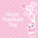 Valentine`s day illustration with cute baby pink panda brings balloons on polka dot background Royalty Free Stock Photo