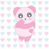 Valentine`s day illustration with cute baby pink panda on love background Royalty Free Stock Images