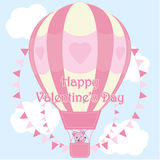 Valentine`s day illustration with cute bear in pink hot air balloon on sky background Stock Photo