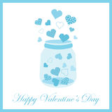 Valentine`s day illustration with cute blue bottle of love on blue frame. Suitable for Valentine`s day greeting card, postcard, and wallpaper Stock Images