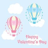 Valentine`s day illustration with cute blue and pink hot air balloon on sky background Stock Images