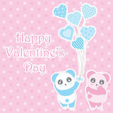 Valentine`s day illustration with cute boy and girl panda bring balloons on polka dot background Stock Images