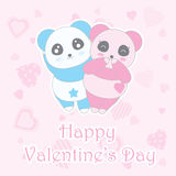 Valentine`s day illustration with cute boy and girl panda on love background Royalty Free Stock Photos