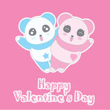 Valentine`s day illustration with cute boy and girl panda on pink background Royalty Free Stock Photo