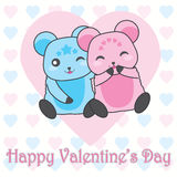 Valentine`s day illustration with cute couple bears on love background Royalty Free Stock Image