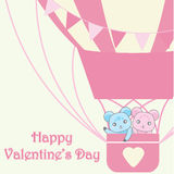 Valentine`s day illustration with cute couple bears in pink hot air balloon Royalty Free Stock Photography