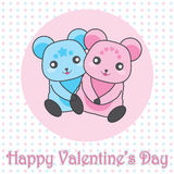 Valentine`s day illustration with cute couple bears on polka dot background Stock Images