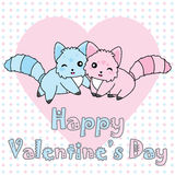 Valentine`s day illustration with cute pink and blue dog on polka dot background Royalty Free Stock Photos