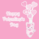 Valentine`s day illustration with cute pink cat brings love balloons on pink background Royalty Free Stock Photography