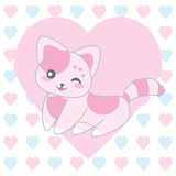 Valentine`s day illustration with cute pink cat on love background Royalty Free Stock Images