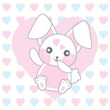 Valentine`s day illustration with cute pink rabbit on love background Royalty Free Stock Photo