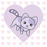 Valentine`s day illustration with cute purple cat on love background Royalty Free Stock Photography