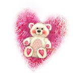 Valentine`s Day illustration with cute teddy bear. Valentine card. Teddy bear toy sketch isolated on heart background. Love design Stock Images