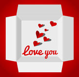 Valentine's day illustration with gift box. Red paper hearts. Valentines day card Stock Photography
