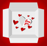 Valentine's day illustration with gift box. Red paper hearts. Valentines day card vector illustration