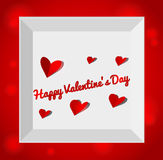 Valentine's day illustration with gift box. Red paper hearts. Valentines day card Royalty Free Stock Image
