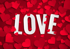 Valentine's day illustration, love text on background with red paper hearts Stock Images