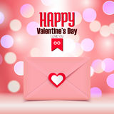 Valentine's day illustration, pink envelope isolated on pink bokeh background, greeting card Royalty Free Stock Images