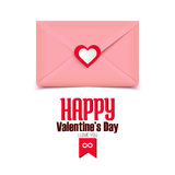 Valentine's day illustration, pink envelope isolated on white background, greeting card Stock Photos