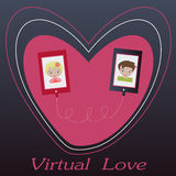 Valentine's day illustration. Receiving or sending love emails for valentines day Stock Photo