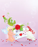 Valentine`s Day illustration with rose, angel, let Stock Photography
