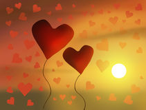 Valentine's Day illustration. Two red hearts. Royalty Free Stock Image
