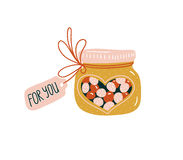 Valentine`s day illustration. Vector hand drawn love card with  candy jar. Royalty Free Stock Photos