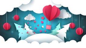 Valentine s Day illustration. Winter landscape. Air balloon, fir, cloud, star. Stock Photography
