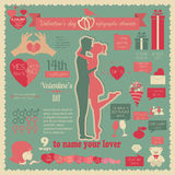Valentine's day infographic. Flat style graphic template Stock Photo