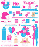 Valentine's day infographic. Flat style graphic template Stock Photos