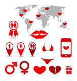 Valentines Day infographics and design elements Royalty Free Stock Image