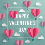 Valentine`s Day invitation card with heart shaped air baloons. Royalty Free Stock Photos