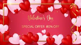 Valentine`s day invitational as red board with pearl pink borderred invitation card rounding by red and soft pink hearts. Red invitation card rounding by red and Royalty Free Stock Photo