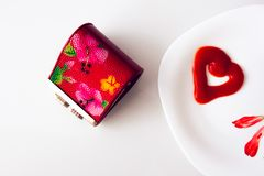 Valentine`s day, items on white or bright background. Showing part of the table royalty free stock photo